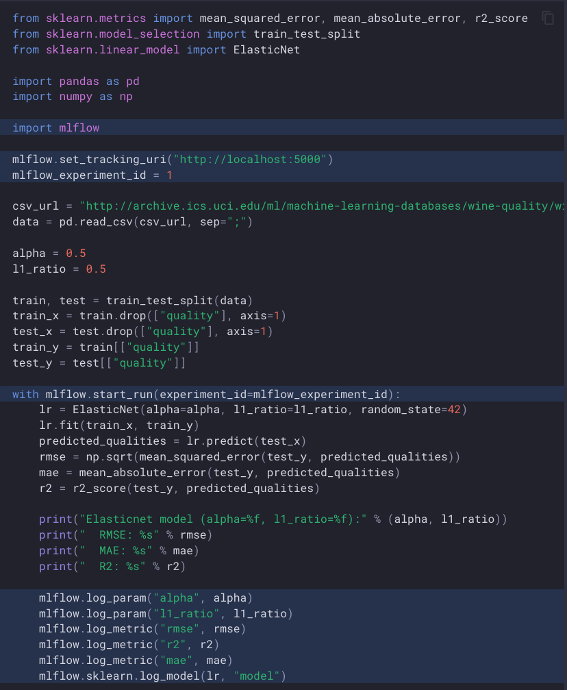 A code sample showing scikit-learn training code with lines highlighted to show how to initialise mlflow and log parameters, metrics, and the full model.
