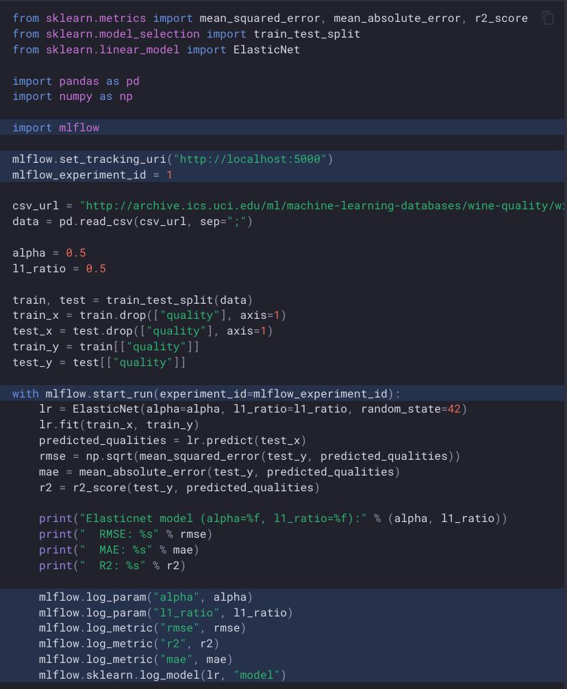 Ein Codebeispiel, das den scikit-learn-Trainingscode mit farblich markierten Zeilen zeigt, um zu veranschaulichen, wie mlflow- und Protokollparameter, Metriken und vollständige Modell-Binärdateien initialisiert werden.