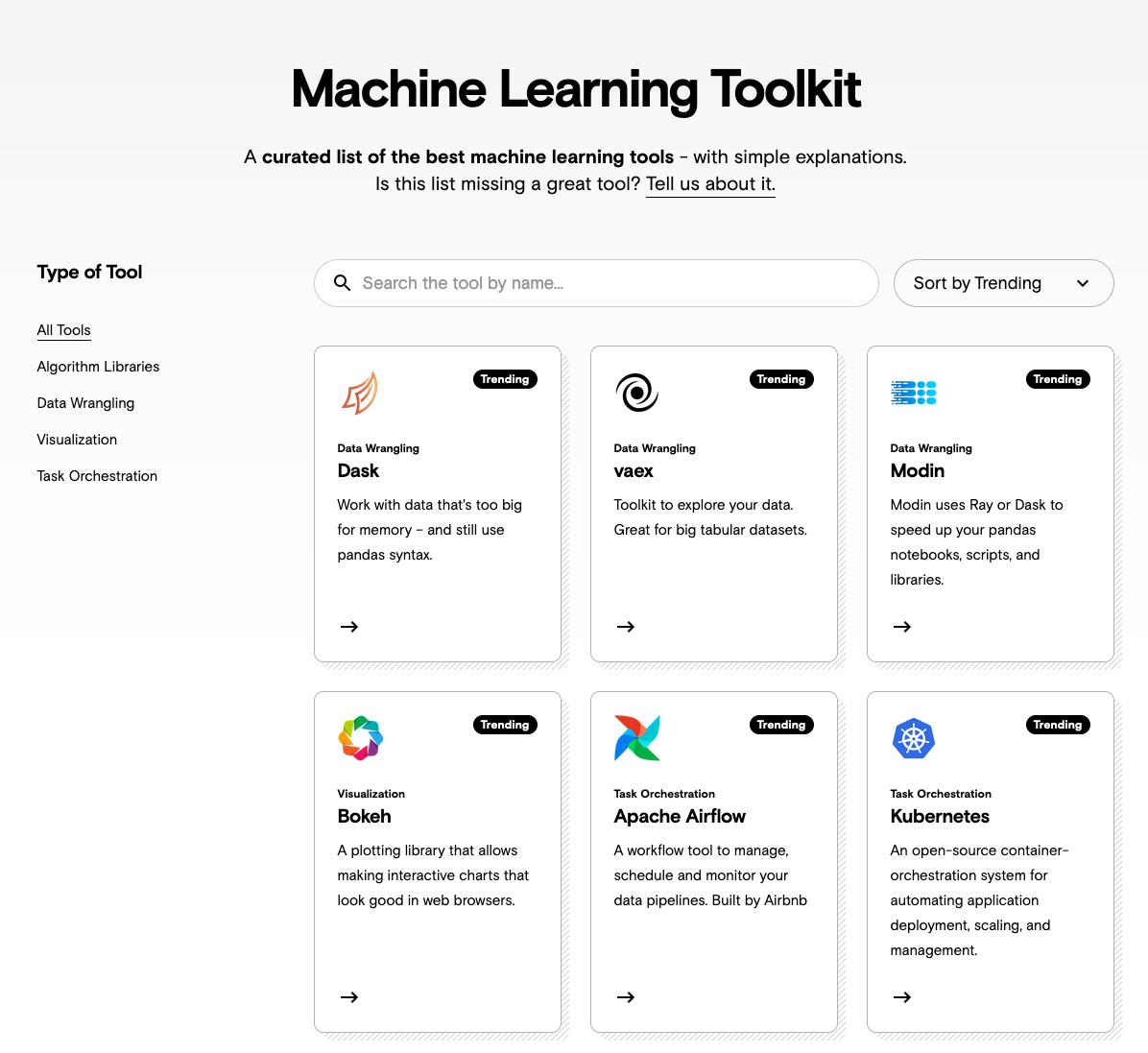 Screenshot einer Website, die eine interaktive Tabelle zeigt, mit Tools wie Dask, Modin und Airflow.