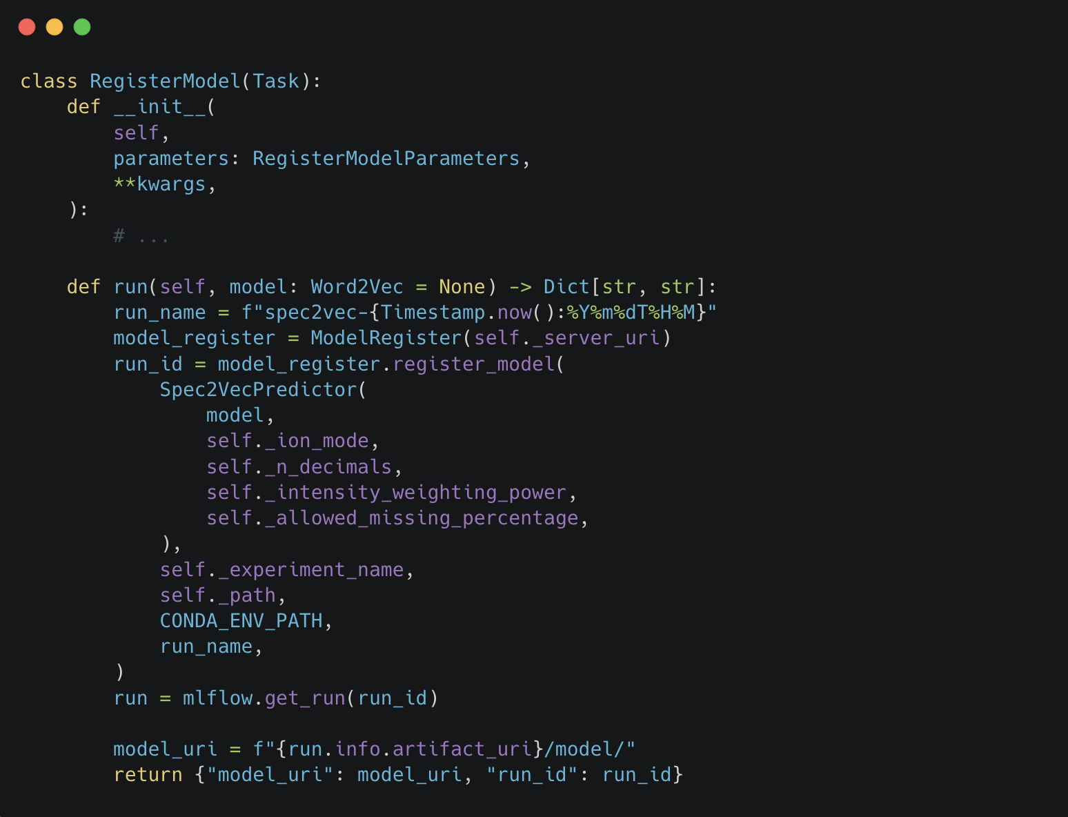 An example Python code snippet for the RegisterModel task showing an init function and a run function.