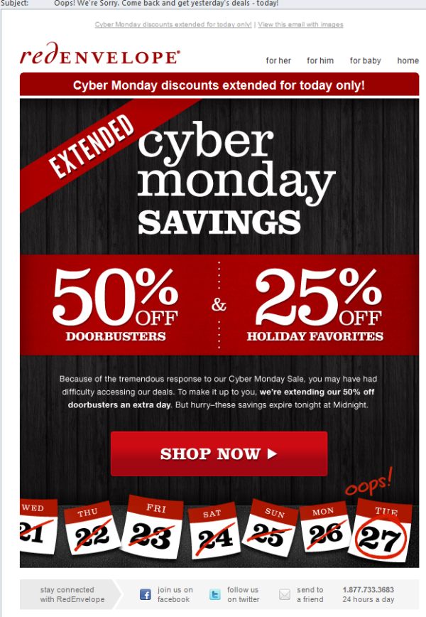 Red Envelope Cyber Monday Oops