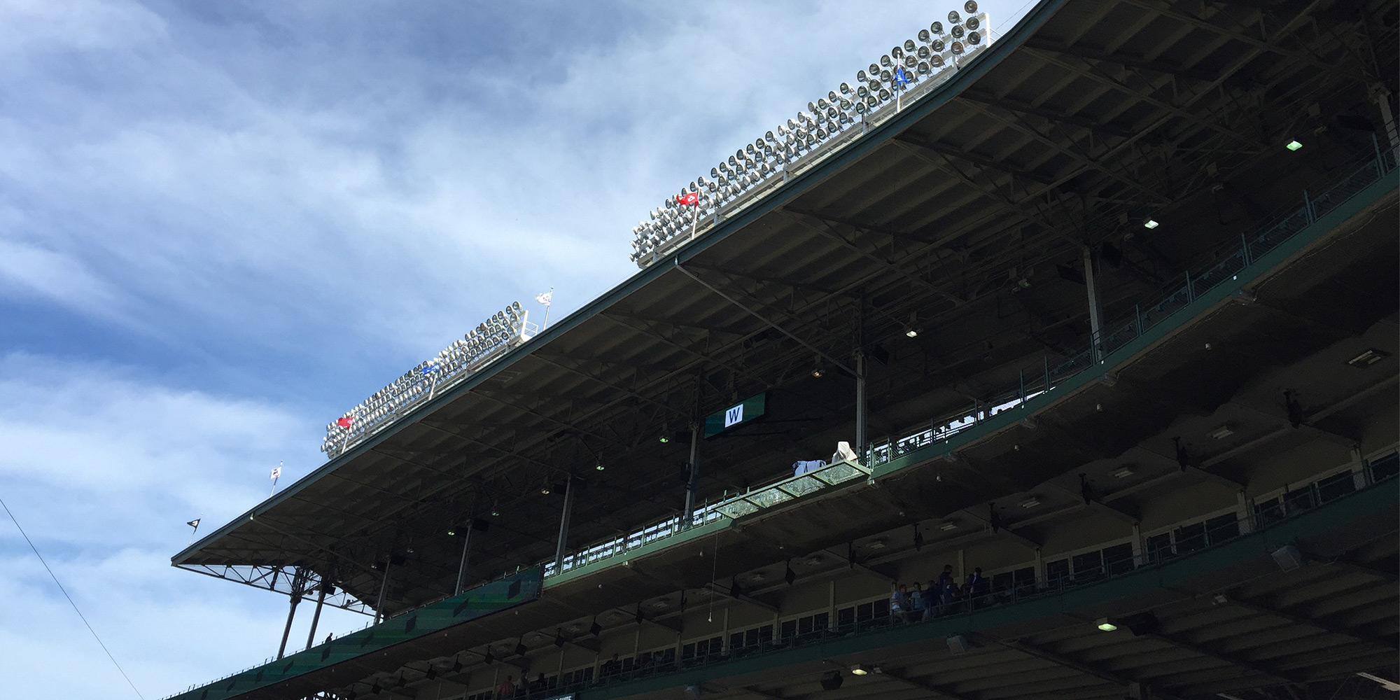 Picture of the roof and lights at Wrigley Field.