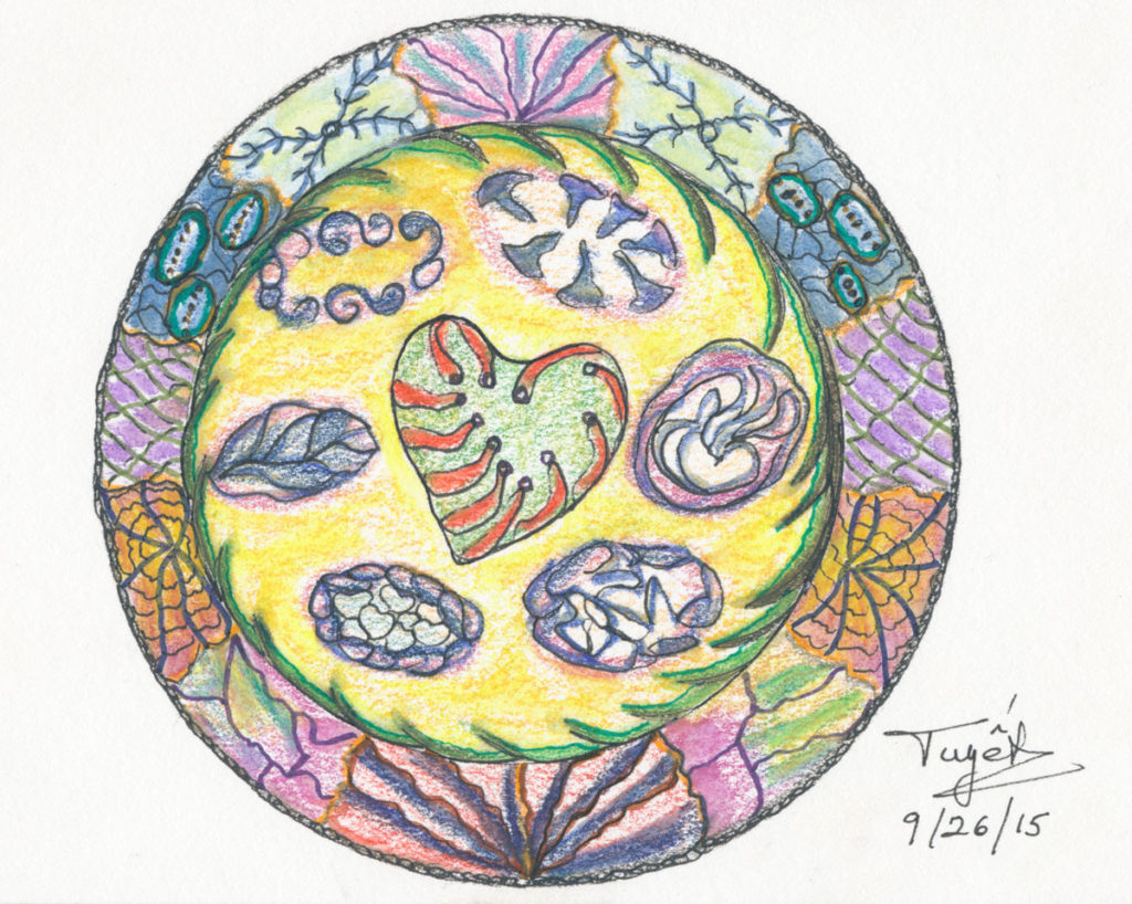 Nature's Heart<br>Watercolor Pencils, Pen & Ink