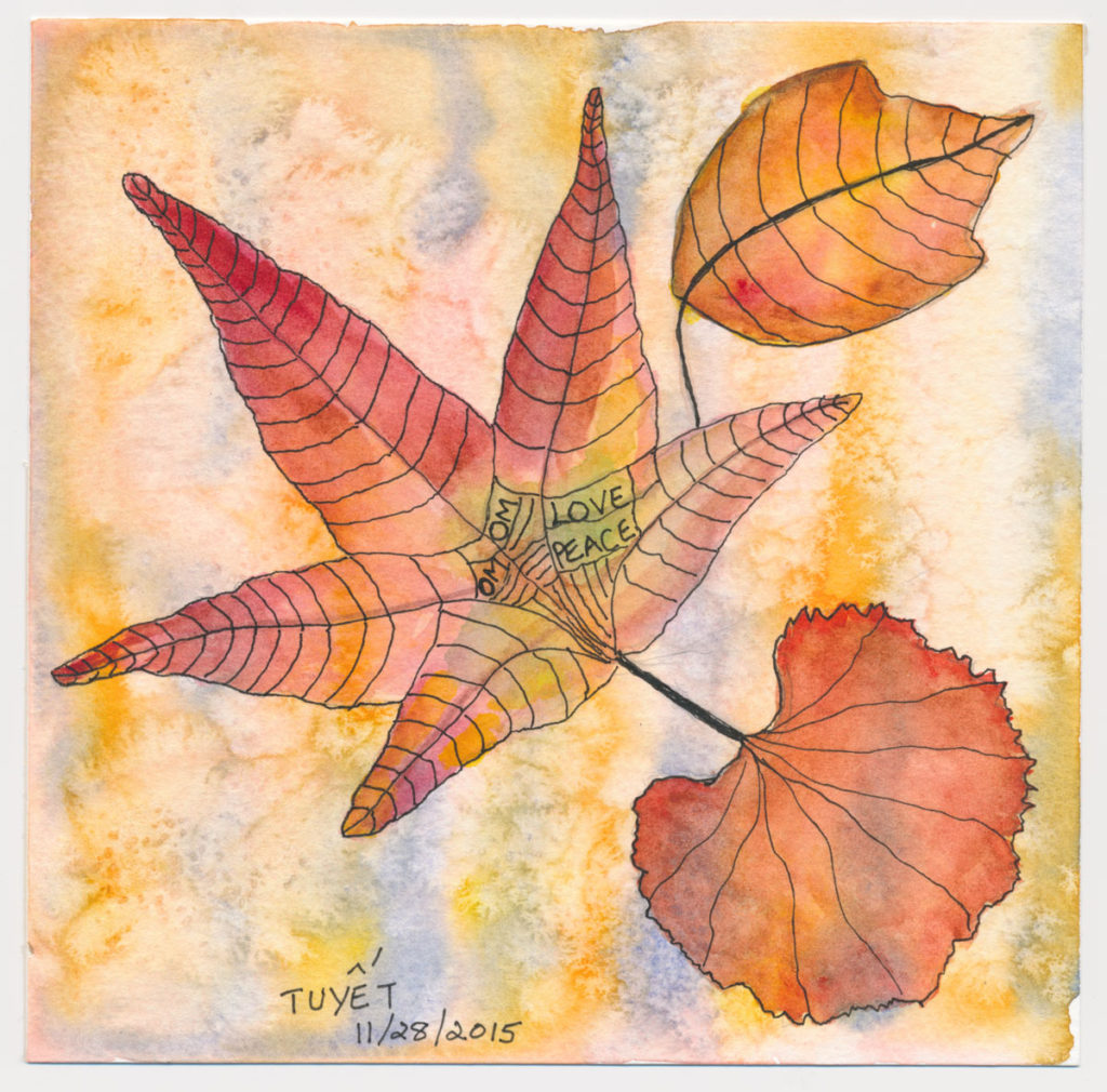 Om, Love, Peace<br>Watercolor, Pen & Ink