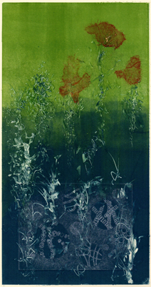 """""""Water Life III,"""" monotype with etching, 15""""h x 8""""w"""