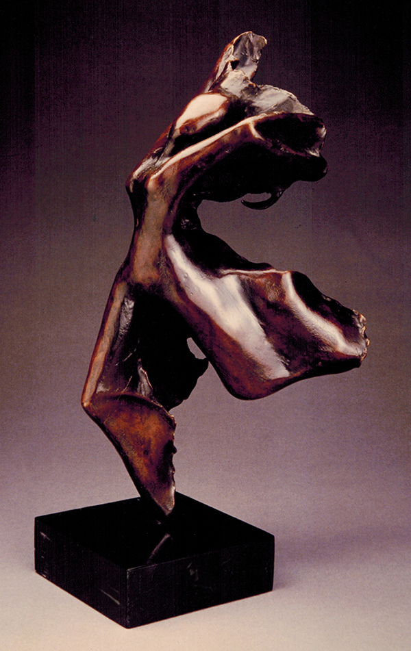 "Bronze, 20"" x 7"" x 10""<br>Working directly in wax using the lost wax technique to create this bronze, she formed beneath my fingers dancing, running: a joyous fluid ode to movement."