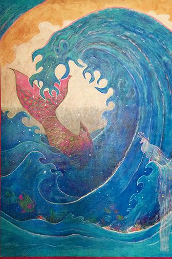 "Deep Sea Plunge, Acrylic on Canvas, 72""x48"""