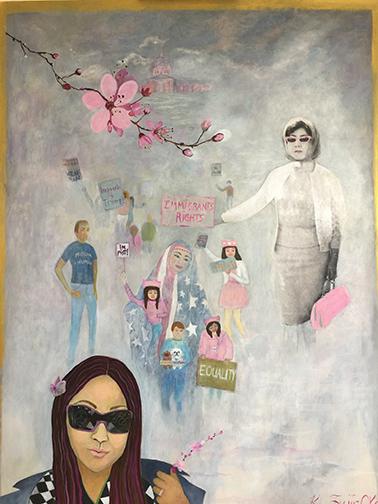 """Floating Cherry Blossoms,"" Yumiko Fujii, My Mother, 14"" Diameter"