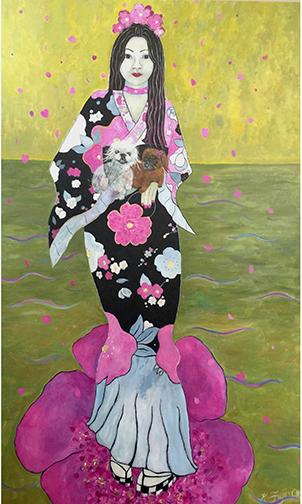 """Cherry Blossom Sansei, Acrylic, Glitter on Canvas 60""""x36"""""""