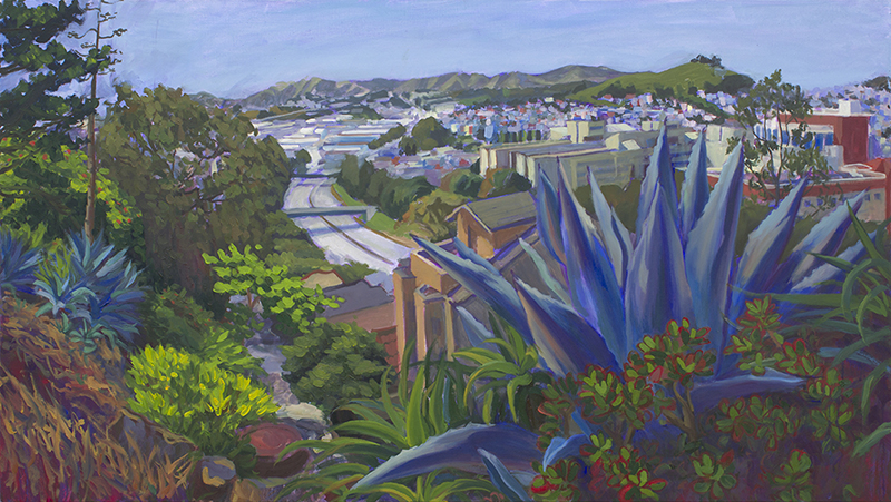 "Agave Looking Over Highway, 25""x45"", Oil on Linen, 2016"