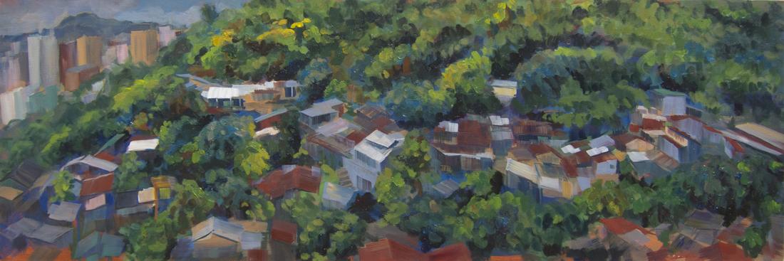 """Ha Wo Che Village, 20""""x60"""", Oil on Canvas, 2013"""
