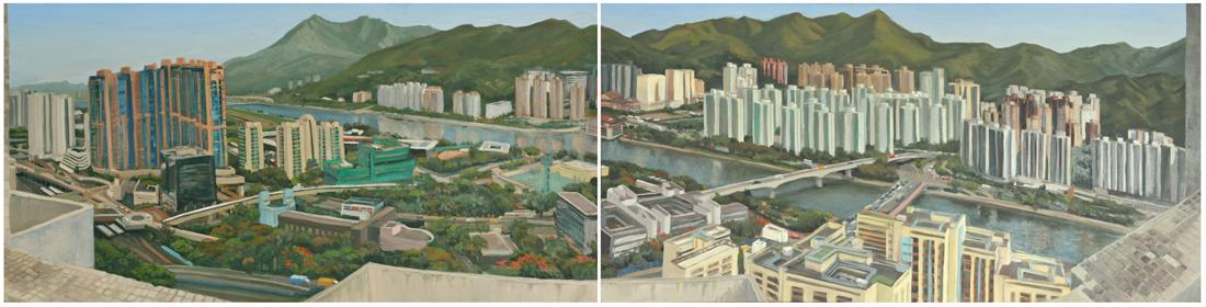 """Fotan Panorama (Shing Mun River), 20""""x80"""", Oil on Canvas, 2012"""
