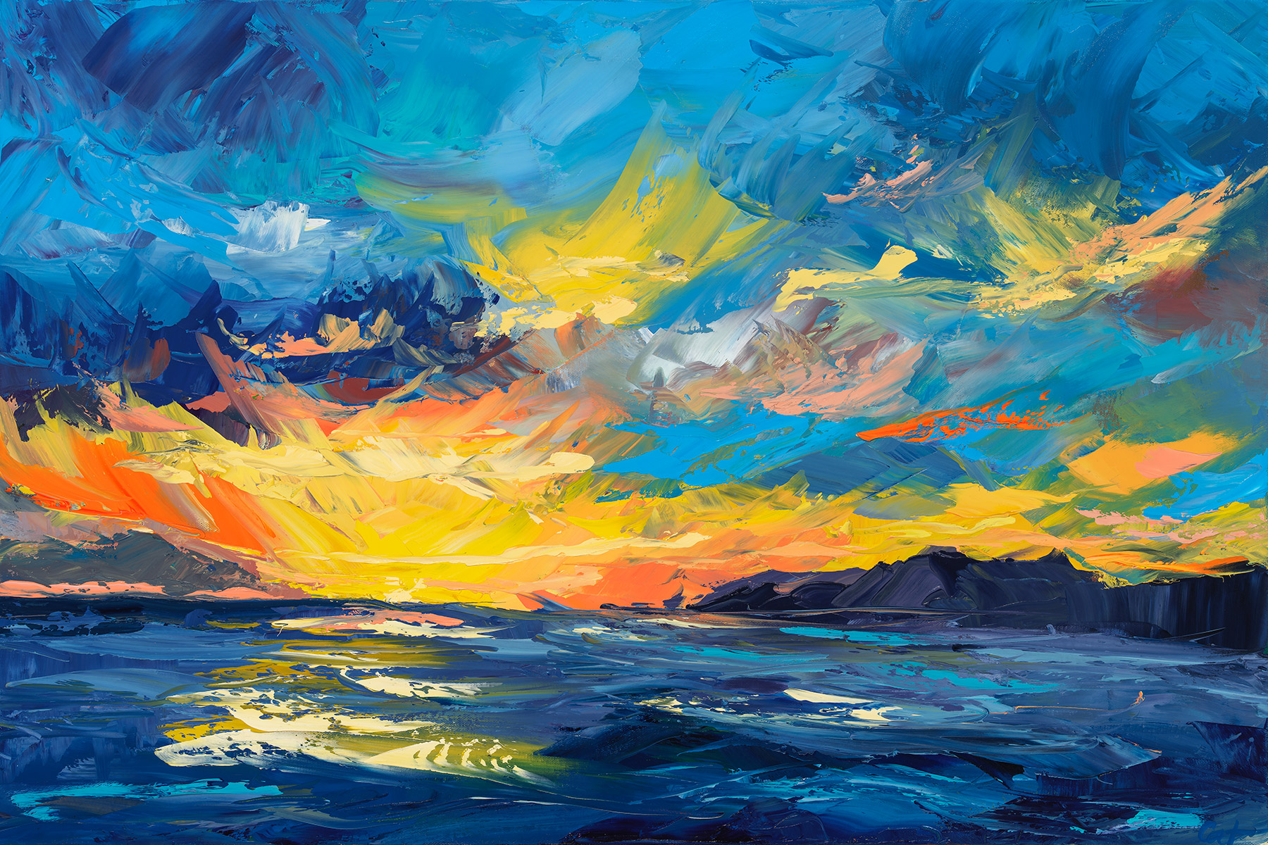 """Sunset Surf on stretched canvas - 36"""" x 24"""" x 1.5"""""""