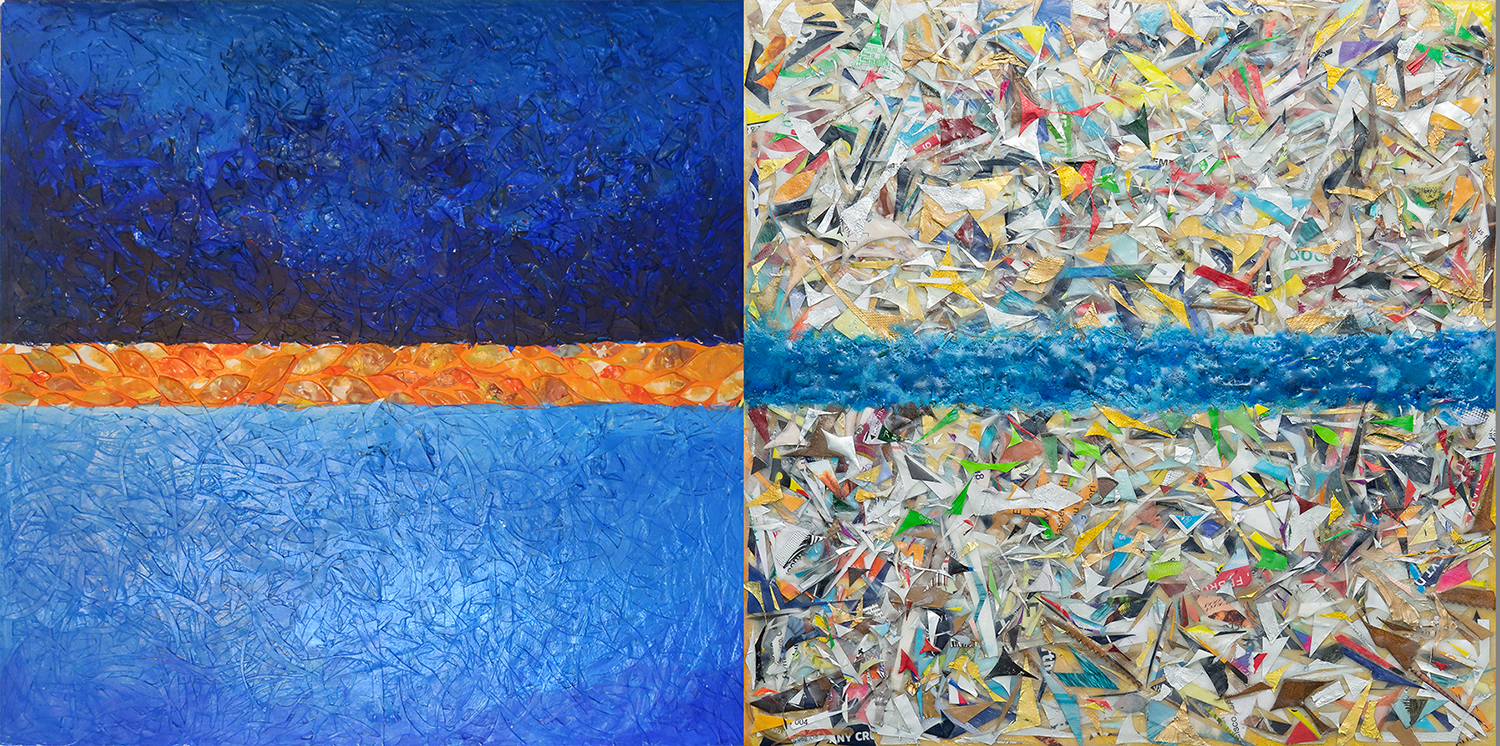 Luminous Space, mixed media, acrylic and encaustics with buried trash
