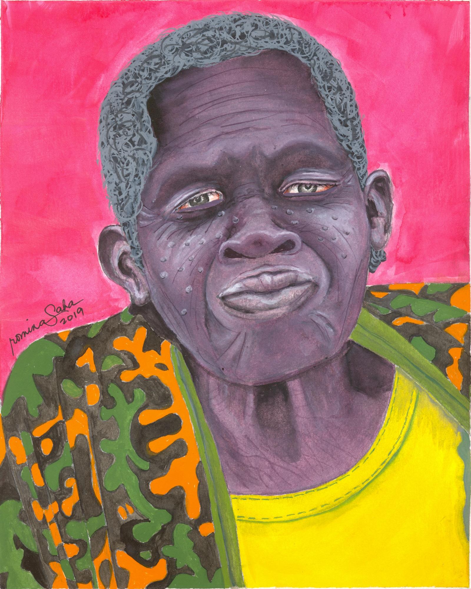 """Ugandan Woman 3,"" watercolor on paper,  8 x 10 inches"