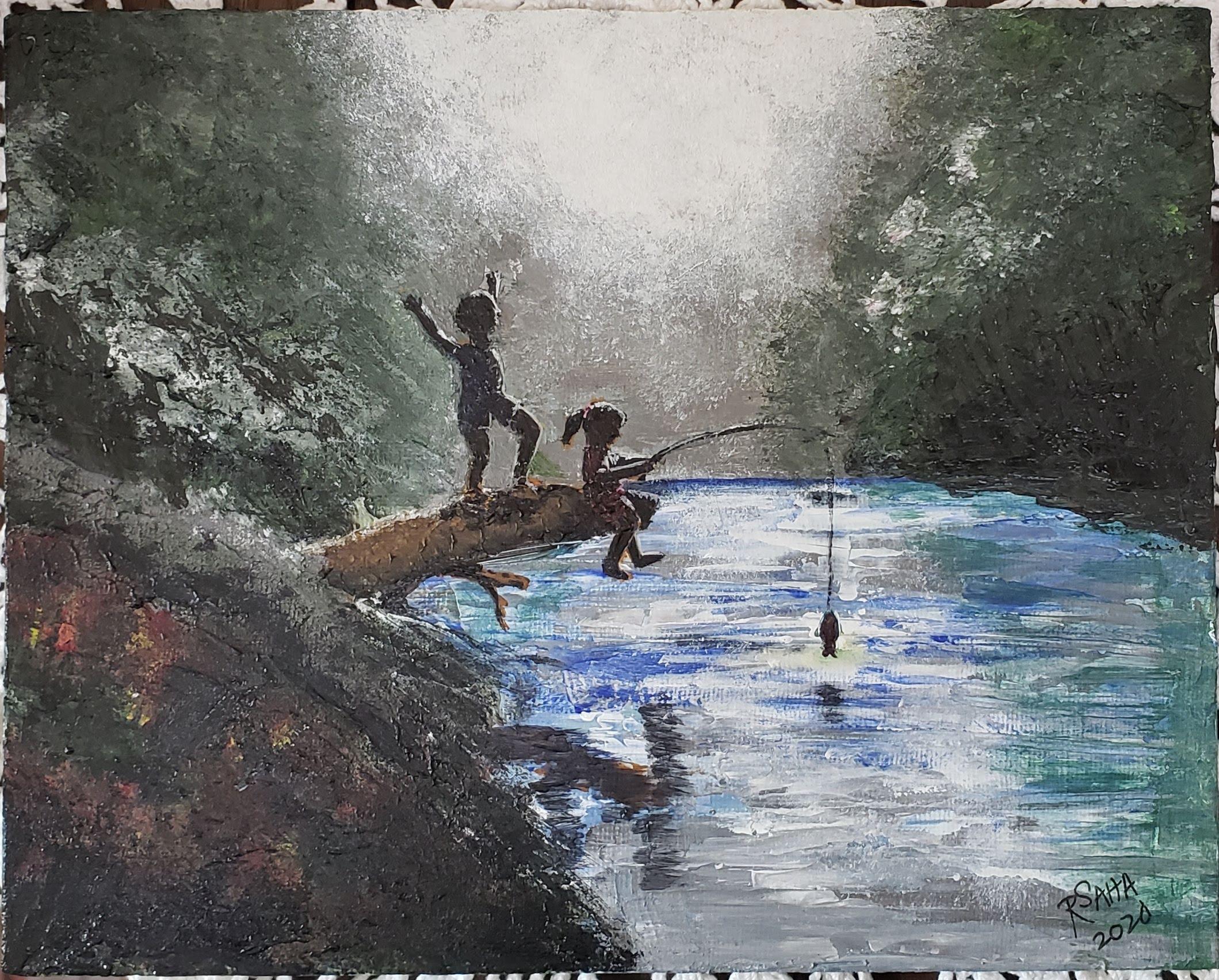 """Girl Fishing,"" acrylic on canvas panel, 8 x 10 inches"