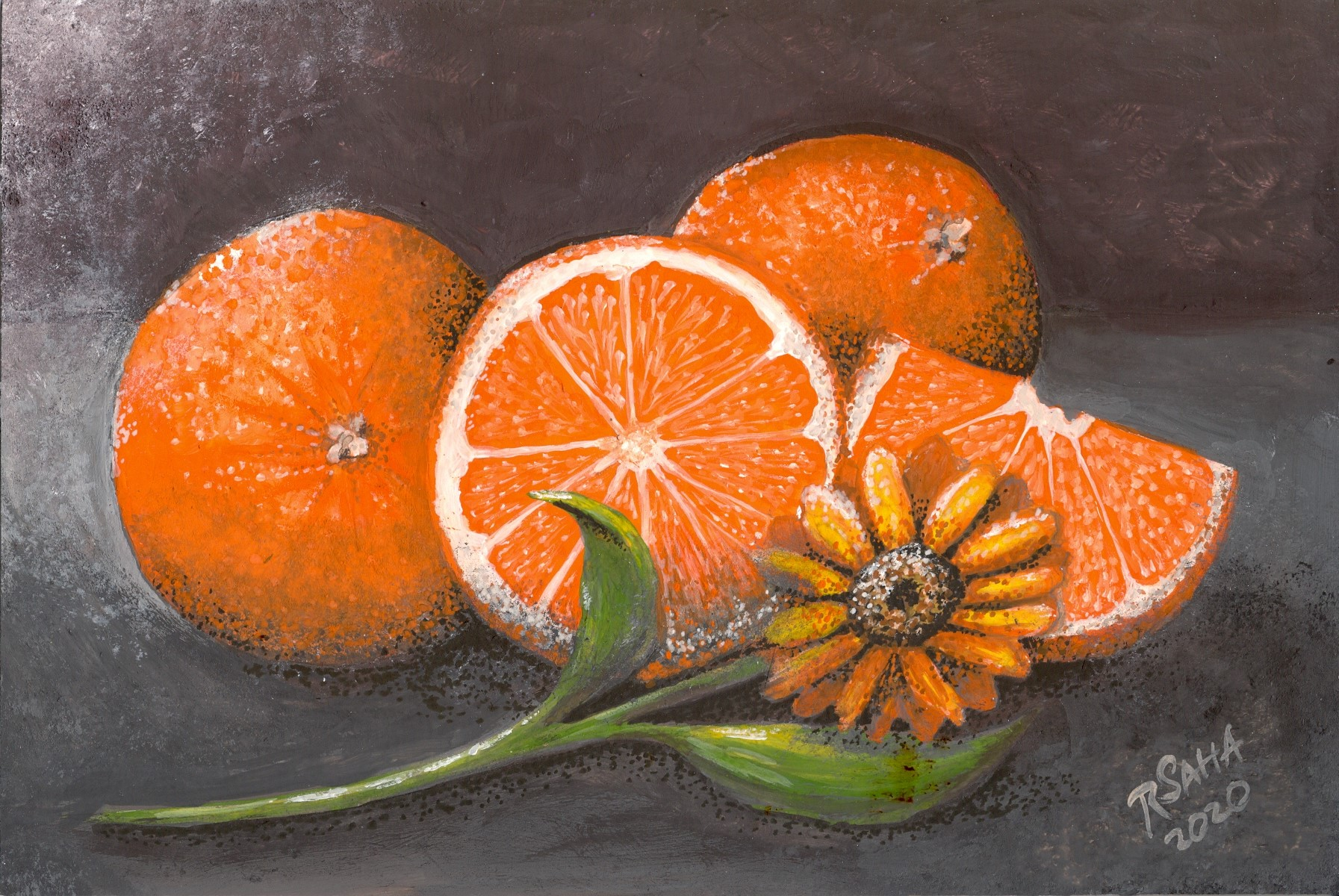 """""""Oranges,"""" gouache on mineral paper, 9.5 x 6.5 inches"""