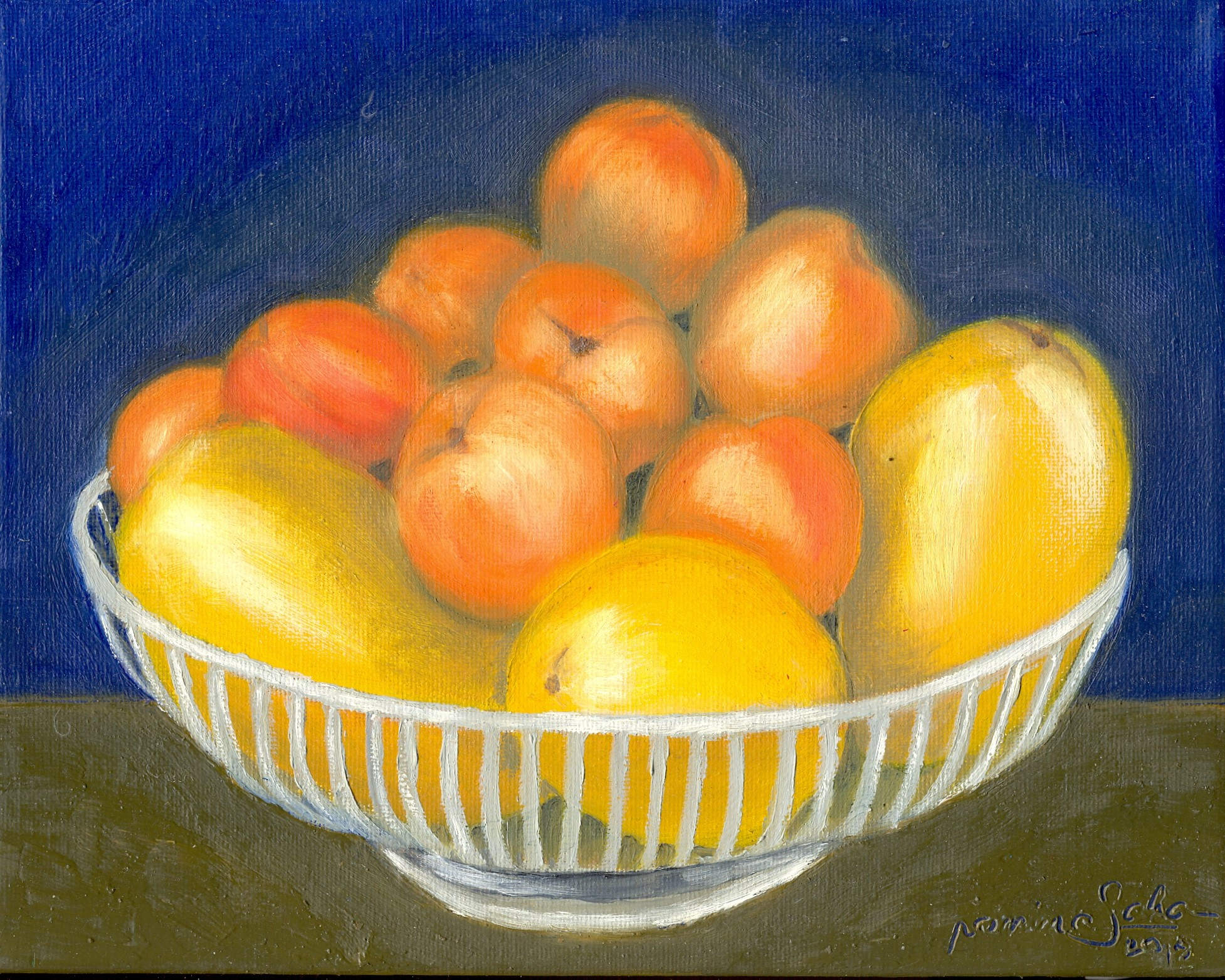 """""""Mangoes and Apricots,"""" oil on stretched canvas, 8 x 10 inches"""