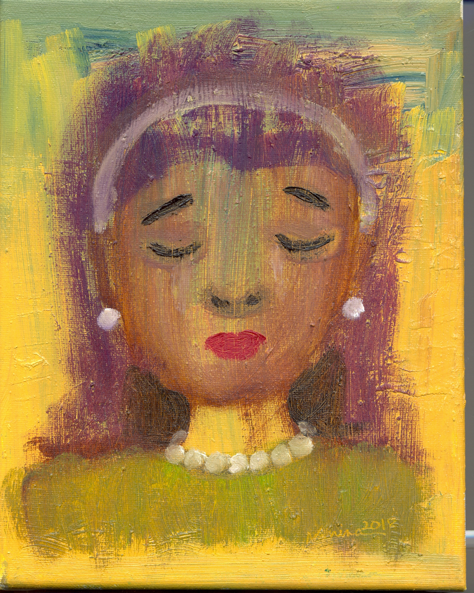 """""""Woman with Pearls,"""" oil on stretched canvas, 8 x 10 inches"""