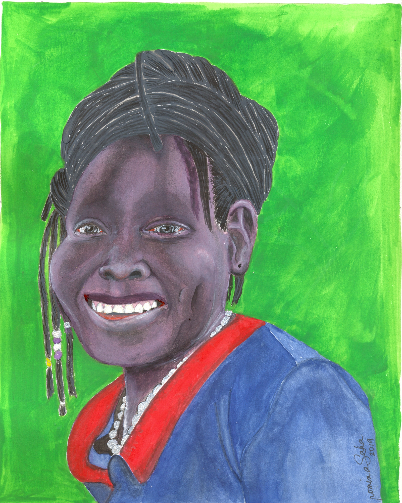 """""""Ugandan Woman 1,"""" oil on stretched canvas, 8 x 10 inches"""
