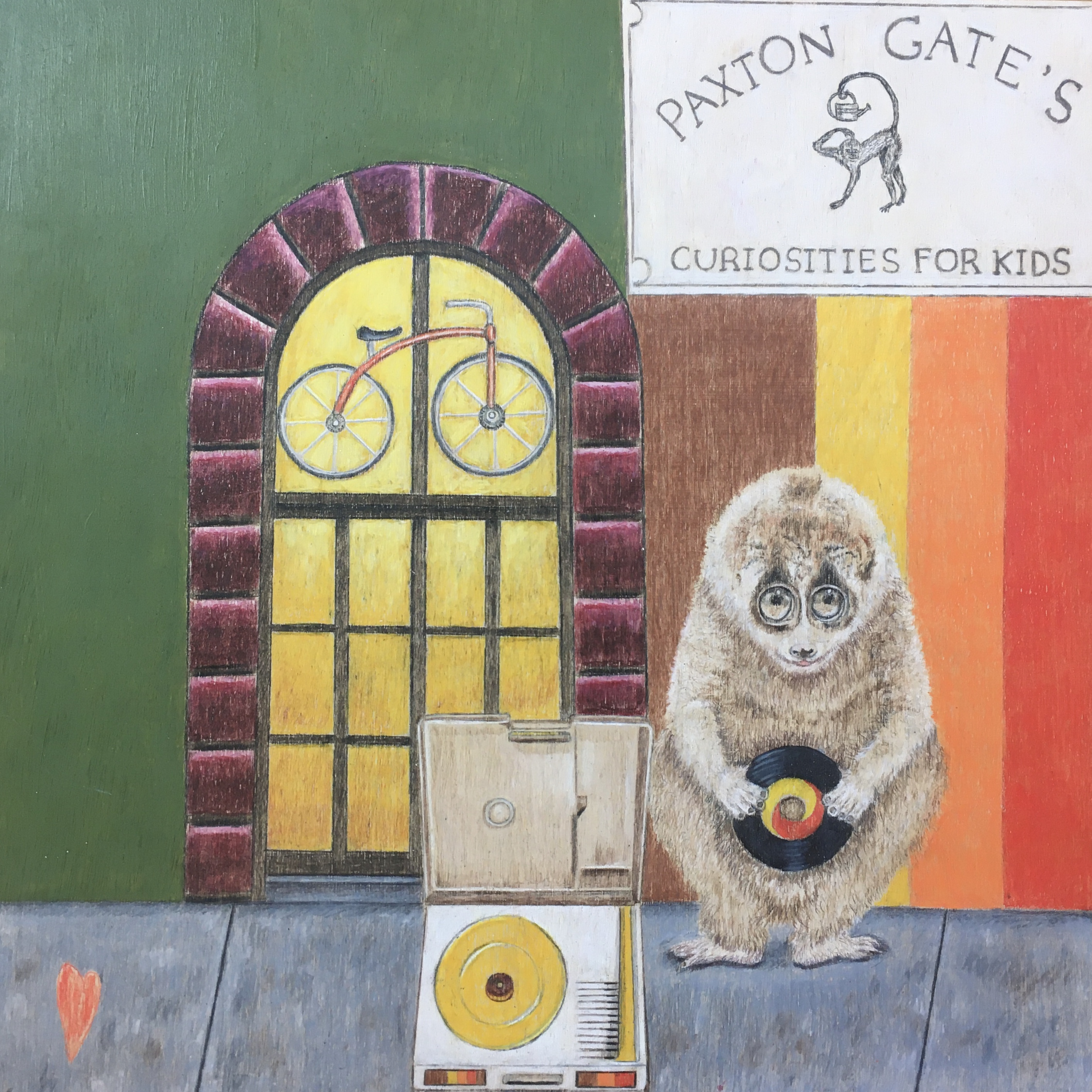 Curious Penny features the beloved and long lost children's toy and science store, Paxton Gate's Curiosities for Kids. This piece includes the endangered Slow Loris from Southeast Asia.