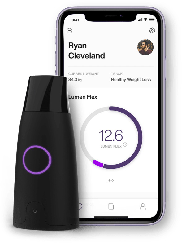 a lumen metabolism tracker connected to the iOS mobile app