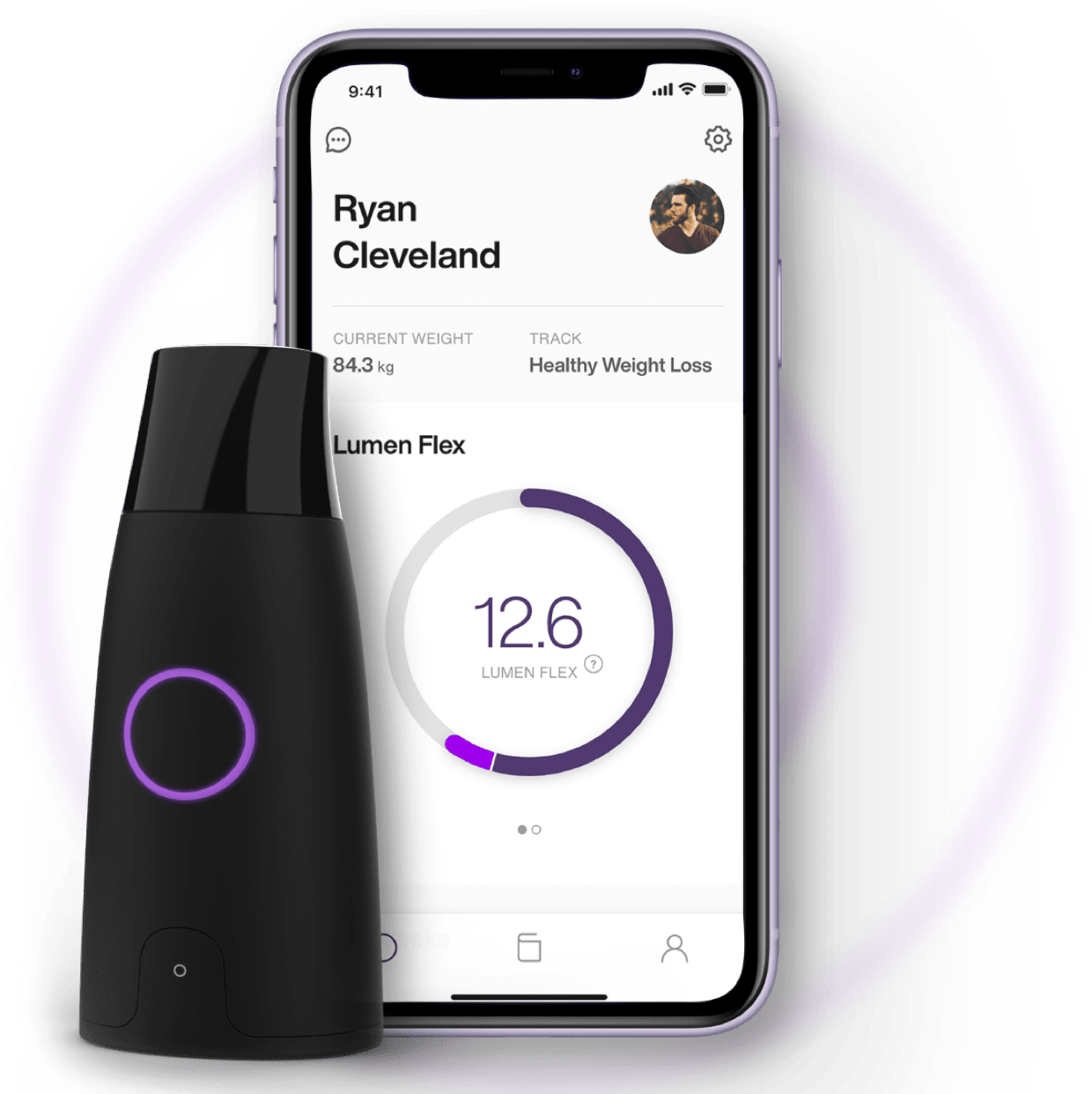 Lumen device alongside a phone that is displaying the Lumen app.