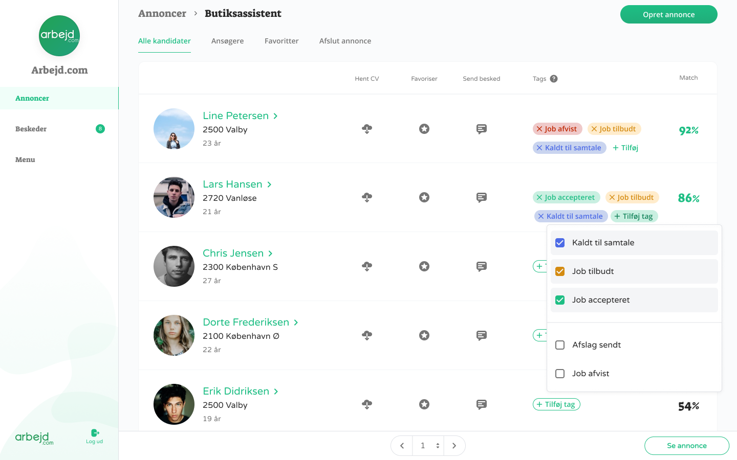 A snapshot of the Arbejd.com dashboard showing candidates