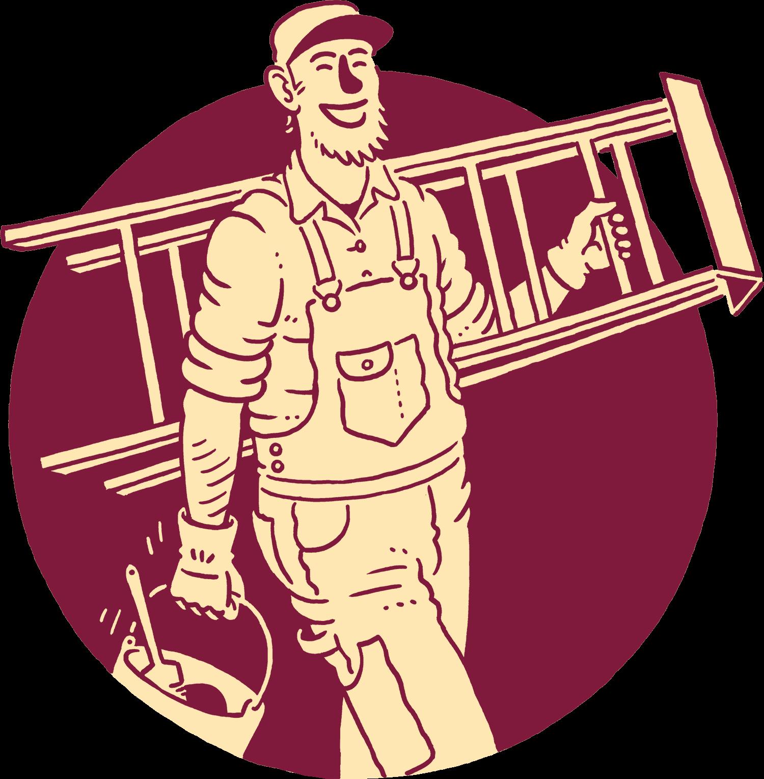 Illustration of happy painter