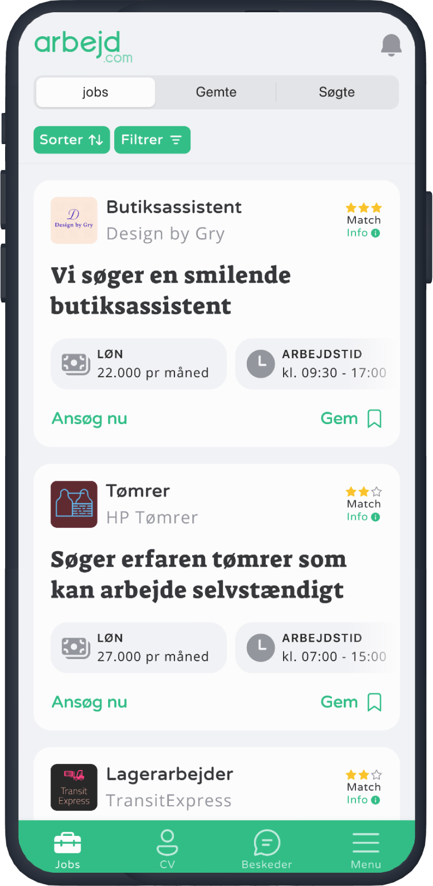 An iPhone showing the Arbejd.com app