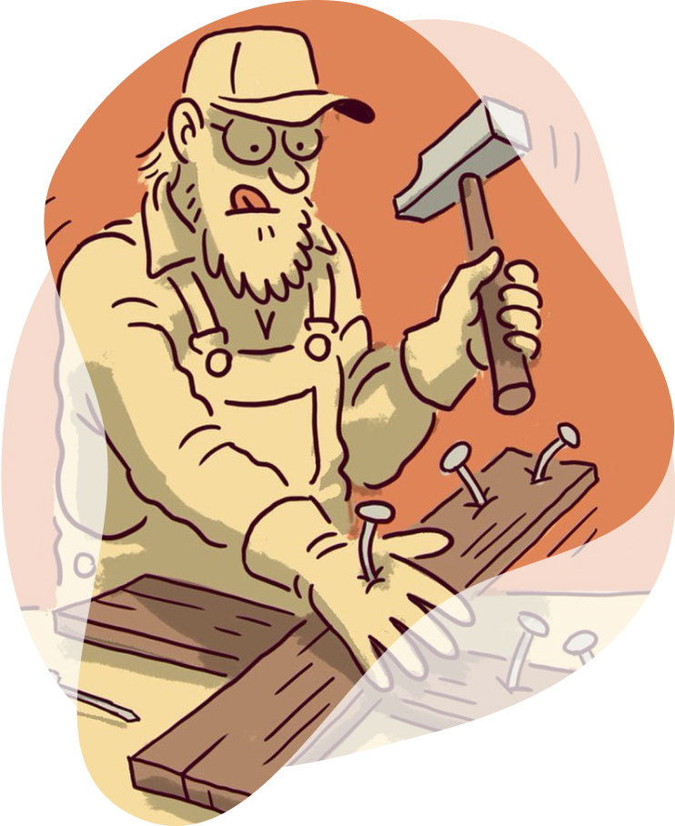 Illustration af mand der hamrer forkert