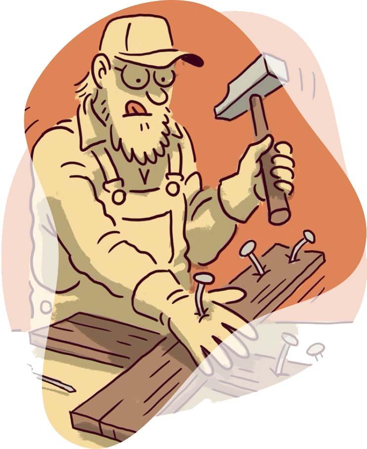 Illustration af mand der banker søm i hånden