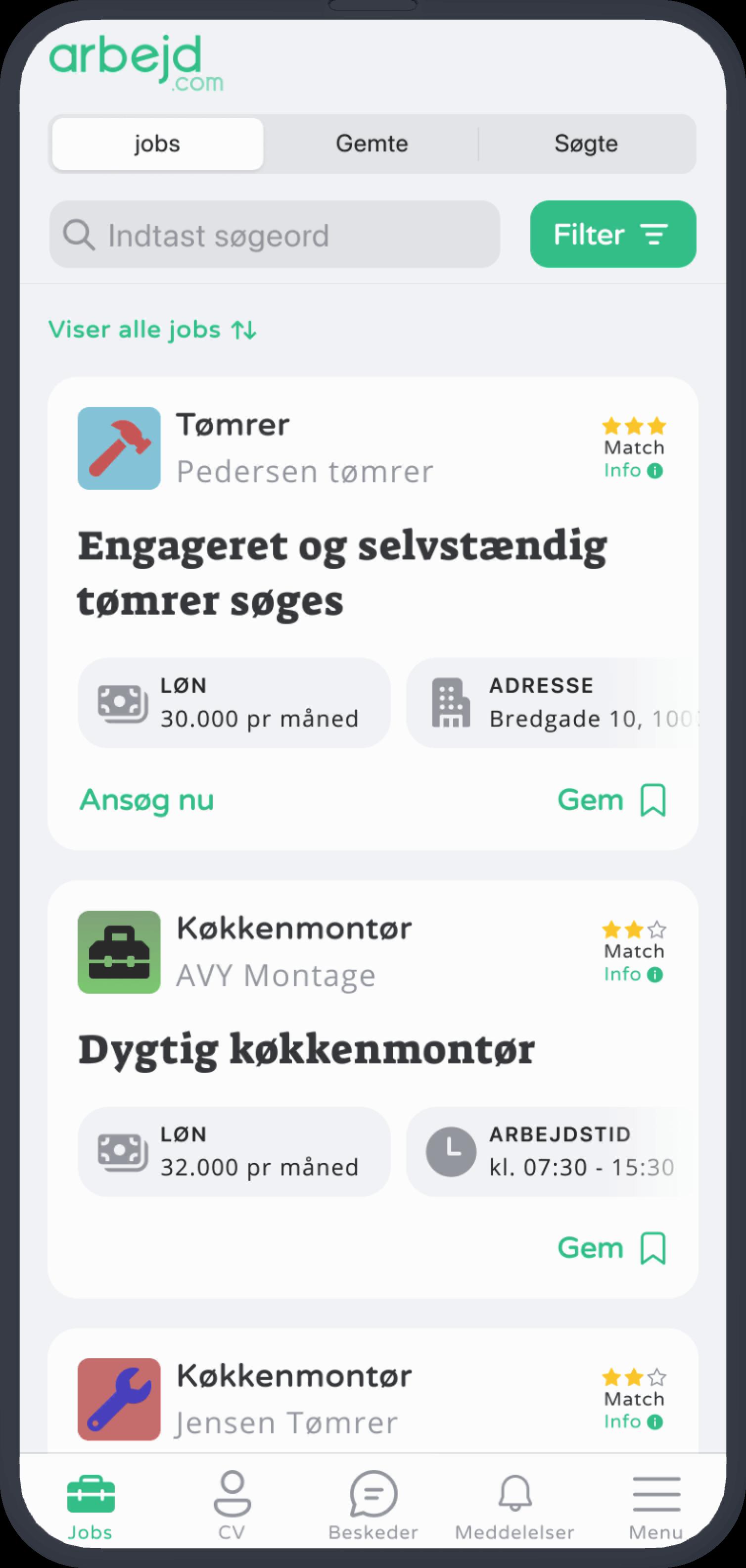 Arbejd.com app showing a list of jobs