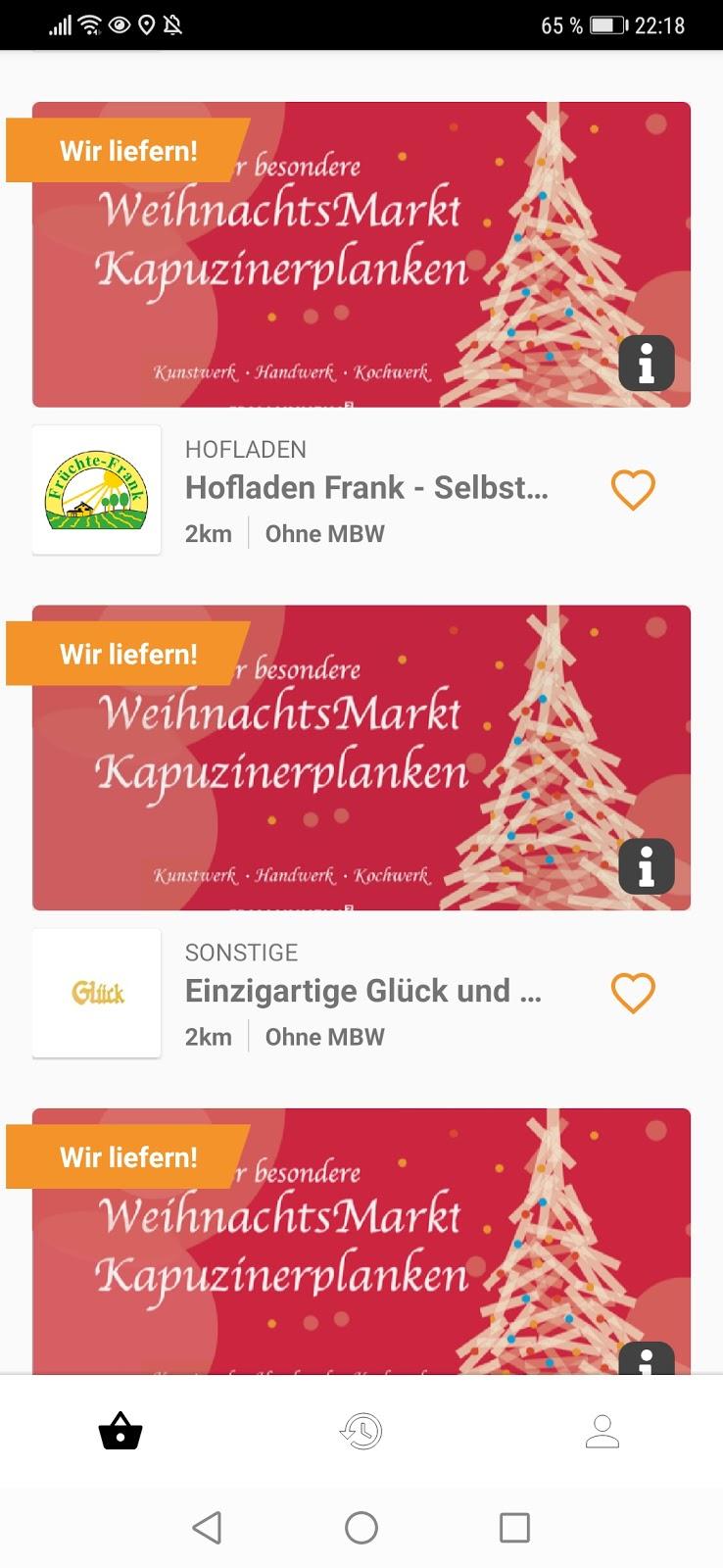 Marktfee.app Weihnachtsmarkt Screenshot