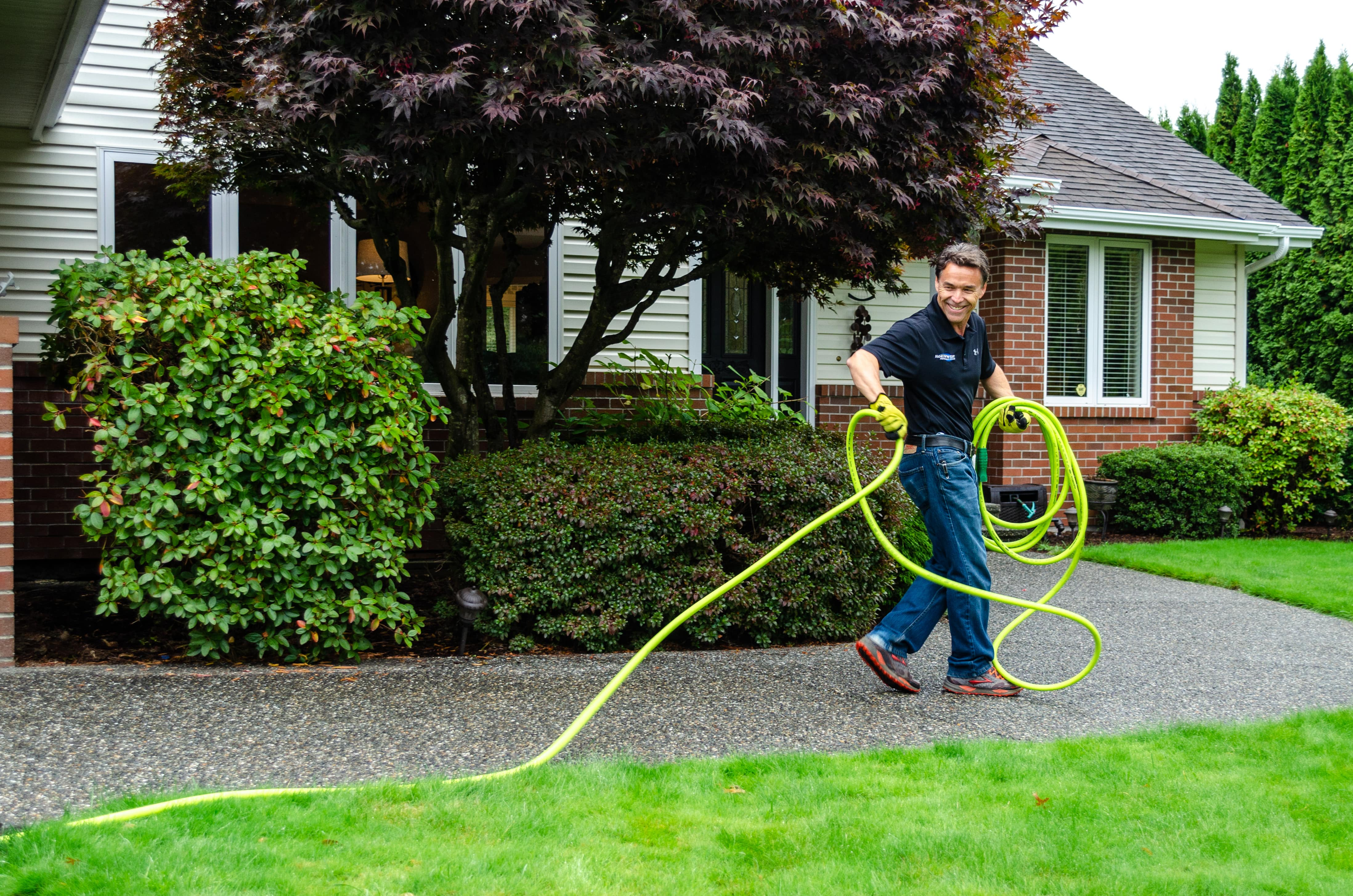 Worker in yard
