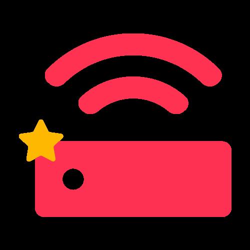 Router ikon rosa med gul stjärna