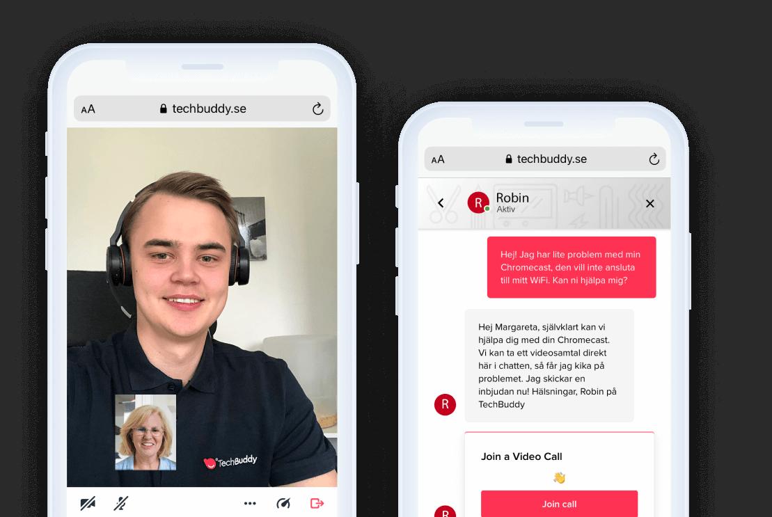 Tekniker som hjälper kunder i chatt och via video.