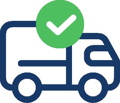 Lastbil med grön checkmark ikon