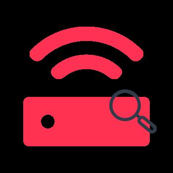 Rosa router icon med förstoringsglas