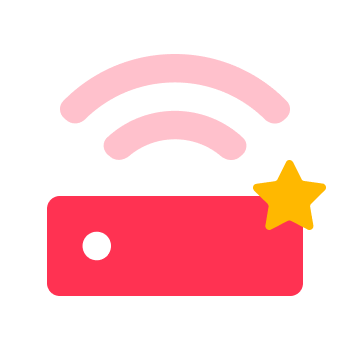 Rosa router ikon med stjärna