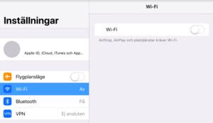 Inne på inställningar i en iPad. Kontrollera att Flygplansläge inte är aktiverat, att Wi-Fi är aktiverat och att den är kopplad till rätt nätverk.