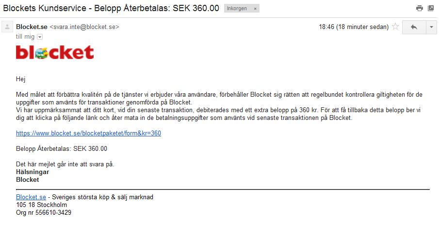 """Ett bluffmail från """"Blocket"""" som uppmanar dig att öppna en länk för att få tillbaka 360 kr till ditt konto."""
