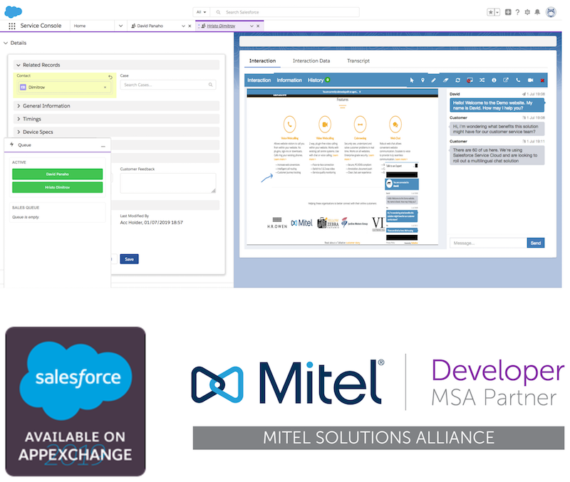 Talkative Engage integrated with Mitel Ignite