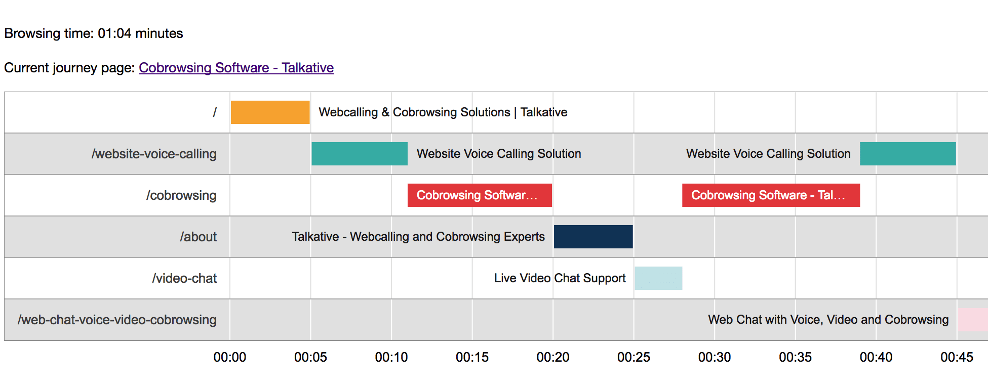 Talkative customer journey map on website, agent view for contact centre