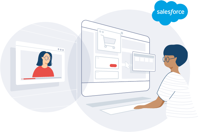 Person using video chat integrated with Salesforce