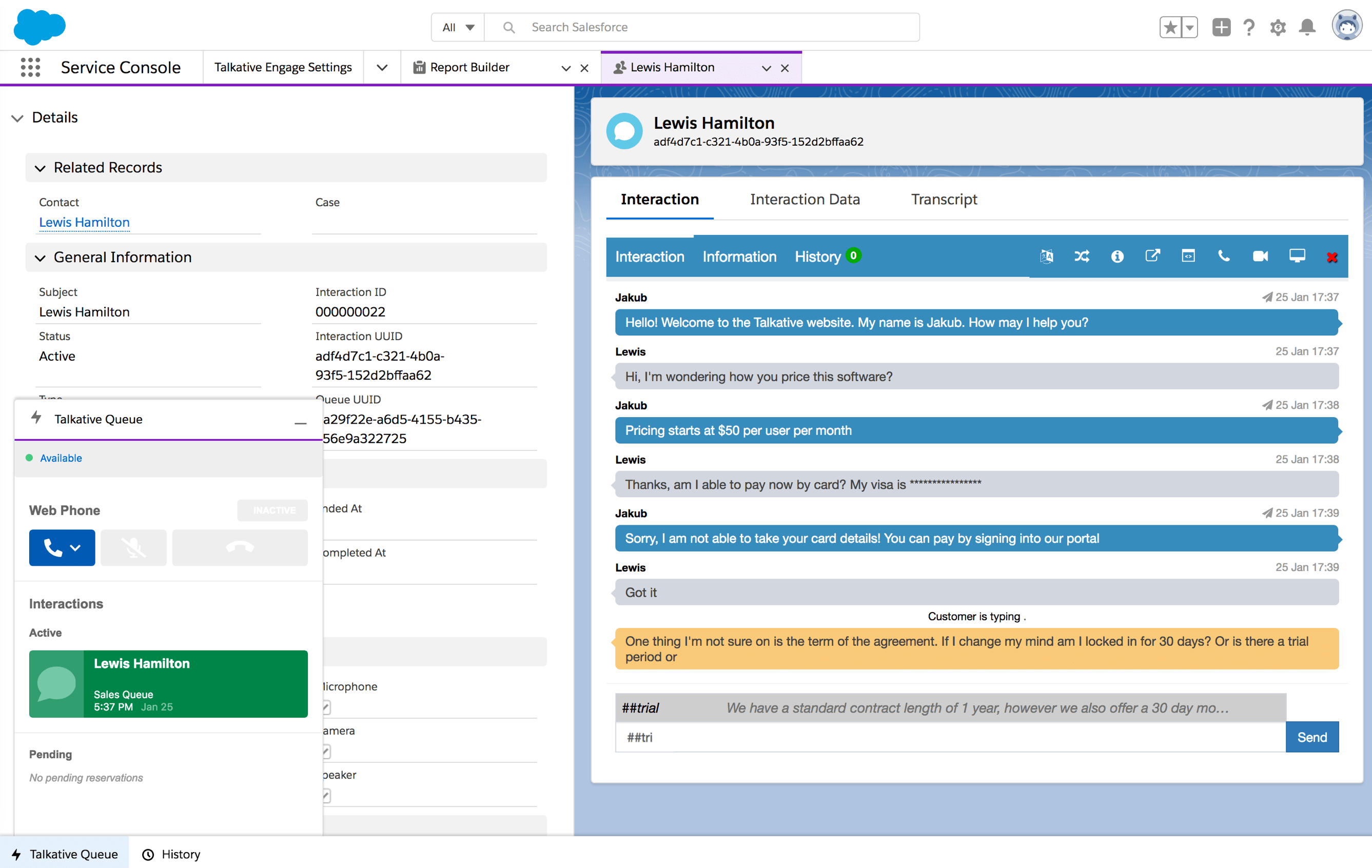 Live chat integrated with Salesforce agent dashboard