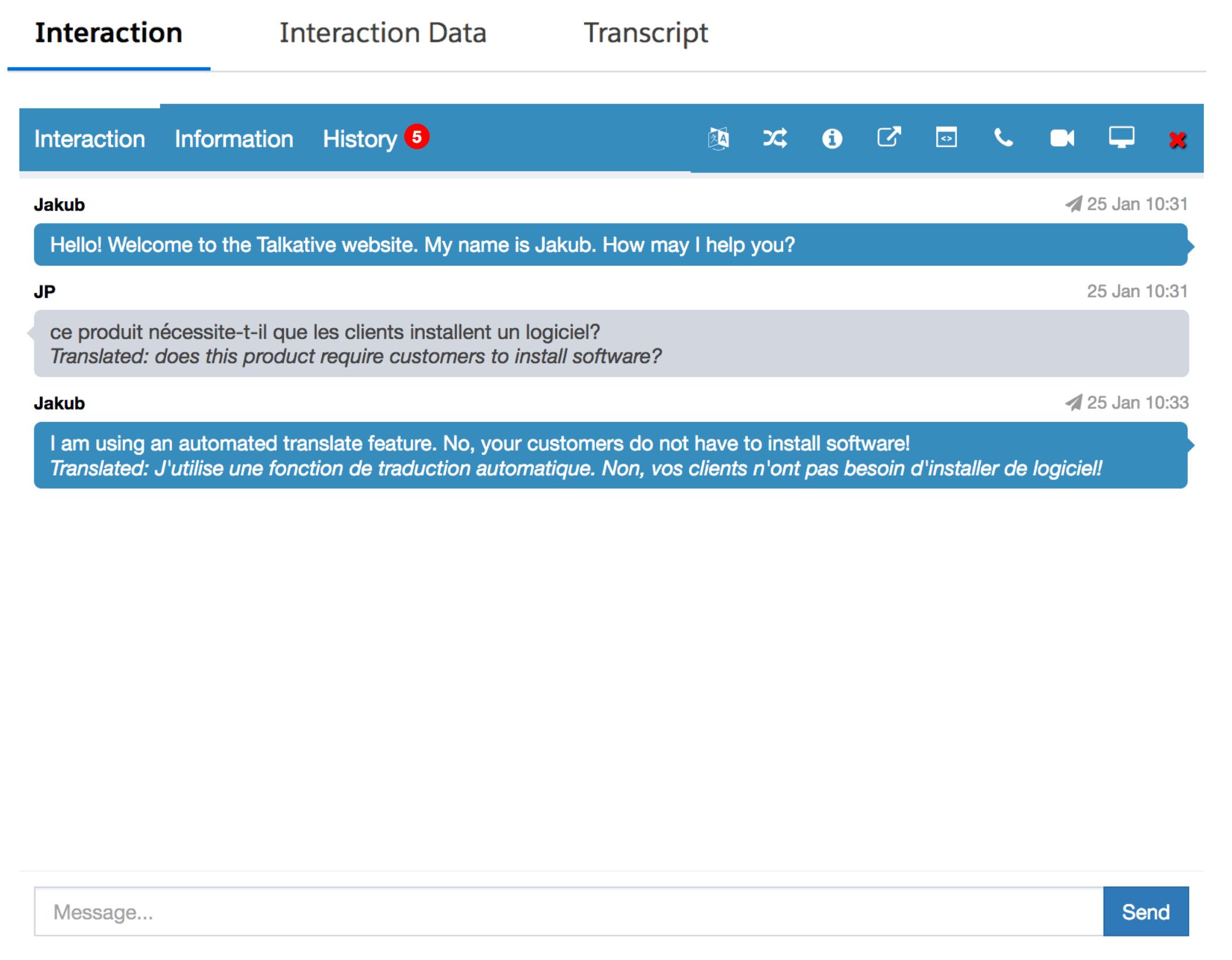 Live chat real-time translation