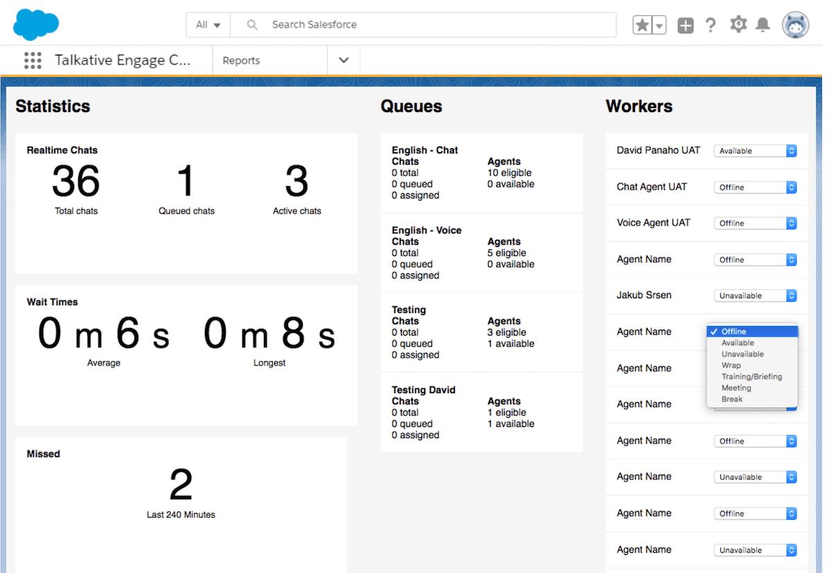 Screenshot of Talkative dashboard integrated with Salesforce