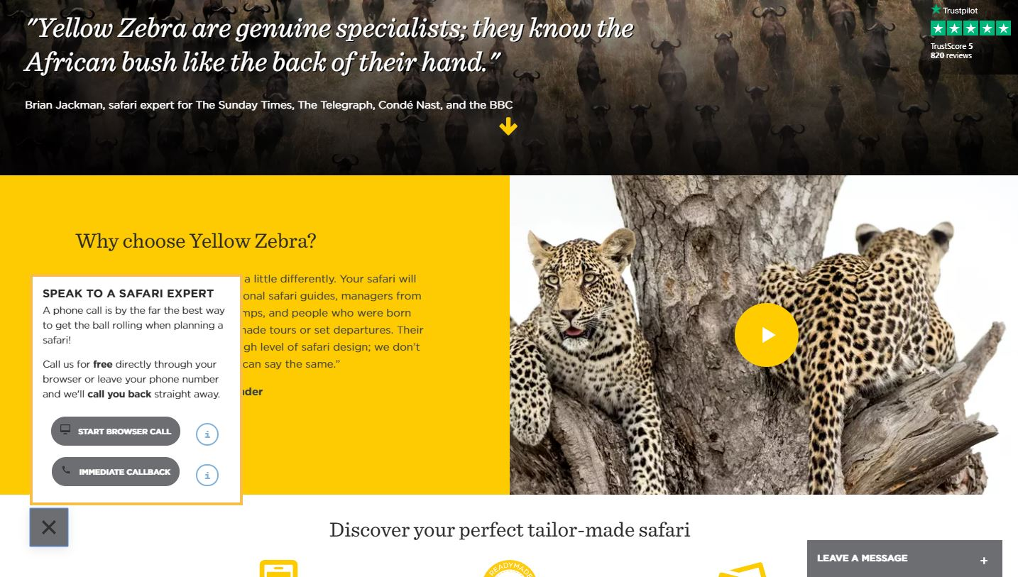 YellowZebra website screenshot
