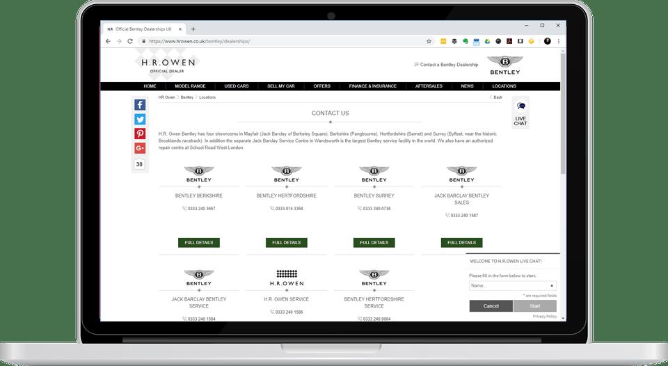 car dealership screenshot on laptop